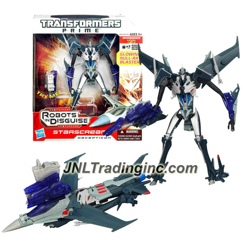 Hasbro Year 2011 Transformers RID Prime Series Voyager Class 7 Inch Tall Robot Action Figure - Decepticon STARSCREAM with Snap-On Missiles and Glowing Null-Ray Blaster (Vehicle Mode: Fighter Jet)