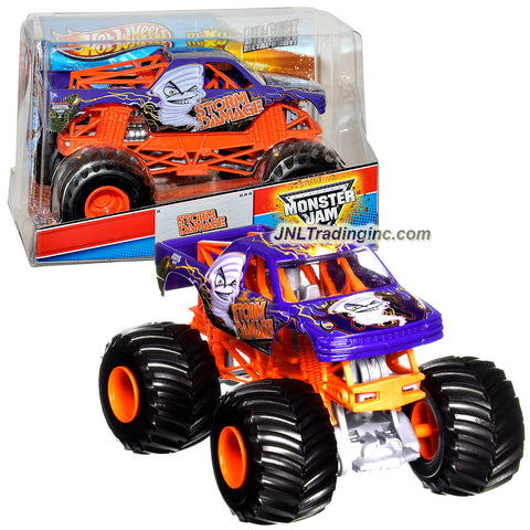 "Hot Wheels Year 2013 Monster Jam 1:24 Scale Die Cast Metal Body Official Monster Truck Series #X9042-098C - STORM DAMAGE with Monster Tires, Working Suspension and 4 Wheel Steering (Dimension : 7"" L x 5-1/2"" W x 4-1/2"" H)"
