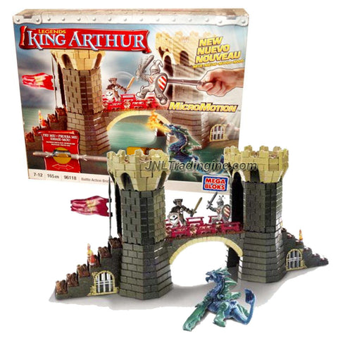 Mega Bloks Year 2008 King Arthur Series Set # 96118 - BATTLE ACTION BRIDGE with 2 Exclusive Figure Sir Lancelot and Garlon Plus Magical Sea Beast (Total Pieces: 165)