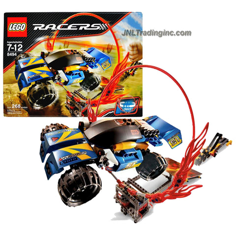 Lego Year 2008 Power Racers Slammer Series Playset # 8494 - RING OF FIRE with Racer, Power Slammer, Ramp and Ring of Fire that Spin 360 Degree (Total Pieces: 268)