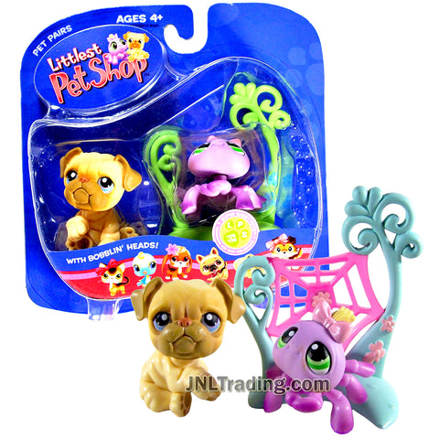 Year 2006 Littlest Pet Shop LPS Pairs Bobble Head Figure - Bulldog #135 and Spider #136 with Cobweb