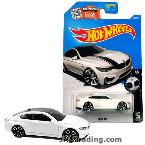 Hot Wheels Year 2015 Scan & Race Series 1:64 Scale Die Cast Car Set #189 - White Color Luxury Coupe BMW M4 (4/5) DHX62