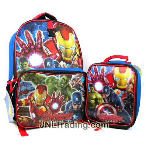 Marvel Avengers Age of Ultron Series School Backpack with Image of Thor, Hulk, Captain America & Iron Man Plus Bonus Single Compartment Lunchbag