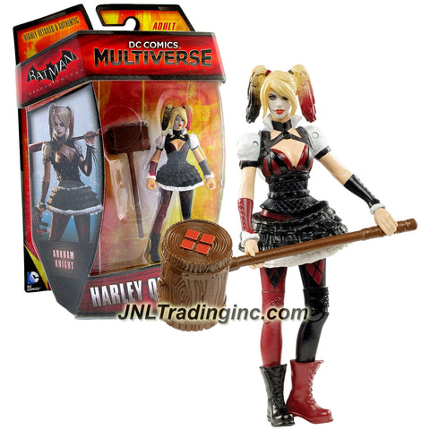 "Mattel Year 2014 DC Comics Multiverse ""Batman Arkham Knight"" Series 4 Inch Tall Action Figure - Villain Harleen F. Quinzel aka HARLEY QUINN with Giant Mallet"