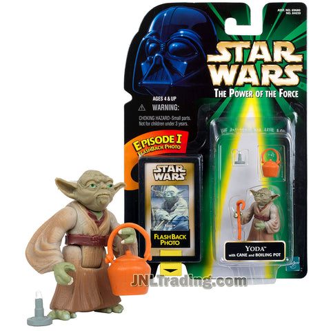Star Wars Year 1998 Power of The Force Series 2 Inch Tall Figure - YODA with Cane Stick and Boiling Pot Plus Episode I Flashback Photo