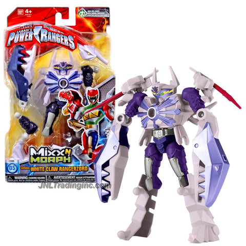 Bandai Year 2015 Saban's Power Rangers Mixx N Morph Series 7 Inch Tall Action Figure - Samurai WHITE CLAW RANGERZORD