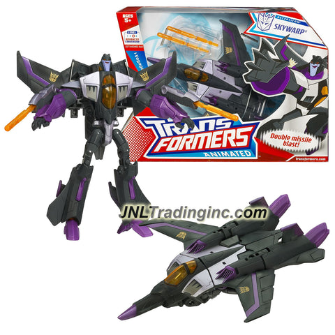 "Hasbro Year 2008 Transformers Animated Series Voyager Class 7 Inch Tall Robot Action Figure - Decepticon Fearful Super Pilot SKYWARP with Flip-Down Missile Launchers, Hidden-Arm ""Lasers"" and 2 Firing Missiles (Vehicle Mode: Fighter Jet)"
