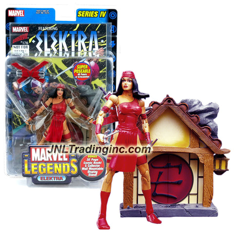 ToyBiz Year 2003 Series IV Marvel Legends 6 Inch Tall Action Figure - ELEKTRA with 40 Points of Articulation, Pair of Swords, Pair of Sais, Sheats, Comic Book & Collector Wall Mountable Display Stand
