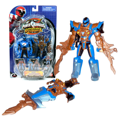 Bandai Year 2007 Power Rangers Operation Overdrive Series 6 Inch Tall Action Figure Set - BLUE SENTINEL ZORD RANGER with 3 Different Mode to Play (Battlizer, Zord and Sword)