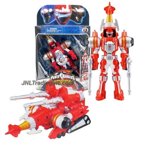 Bandai Year 2006 Power Rangers Operation Overdrive Series 8 Inch Tall Action Figure - TURBO DRILL RED POWER RANGER that Morphs to Red Drill Driver