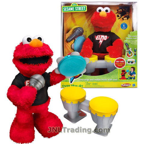 Hasbro Playskool Year 2011 123 Sesame Street Series 15 Inch Tall Electronic Figure - LET'S ROCK ELMO with 6 Rockin' Songs Plus Microphone, Tambourine and Drums