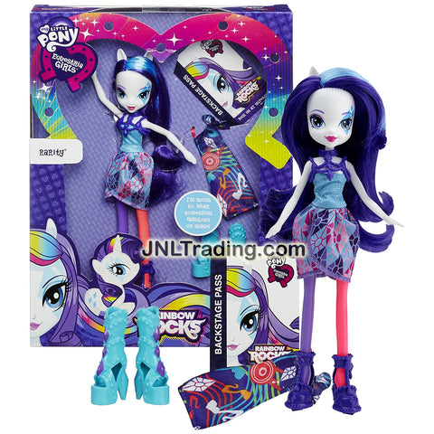Hasbro Year 2014 My Little Pony Equestria Girls Series 9 Inch Doll Set - RARITY with 2 Outfits and 2 Pairs of Shoes