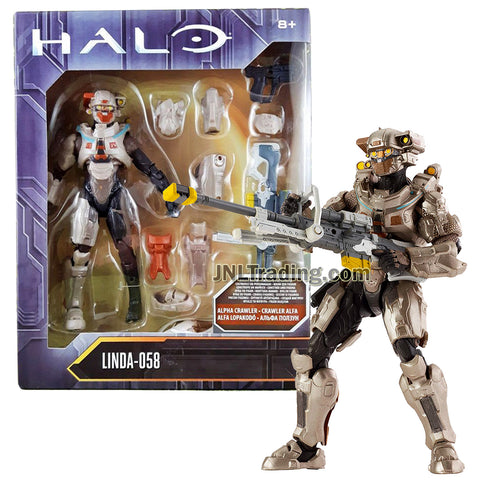 Year 2016 HALO Alpha Crawler Series 6 Inch Tall Figure : Spartan LINDA-058 with Blaster Rifle and Body Armor