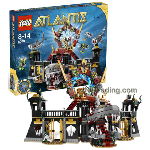 Lego Year 2010 Atlantis Series Set #8078 - PORTAL OF ATLANTIS with Shark Castle, Treasure Keys Plus 3 Divers, Portal Emperor, Squid Warrior, Shark Warrior and Skeleton Minifigures (Pieces: 1007)