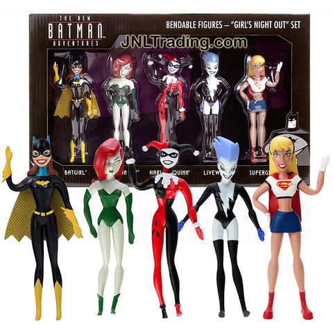 DC Comics The New Batman Adventures 5 Pk 5 Inch Tall Bendable Figure - GIRL'S NIGHT OUT with BATGIRL, POISON IVY, HARLEY QUINN, LIVEWIRE & SUPERGIRL