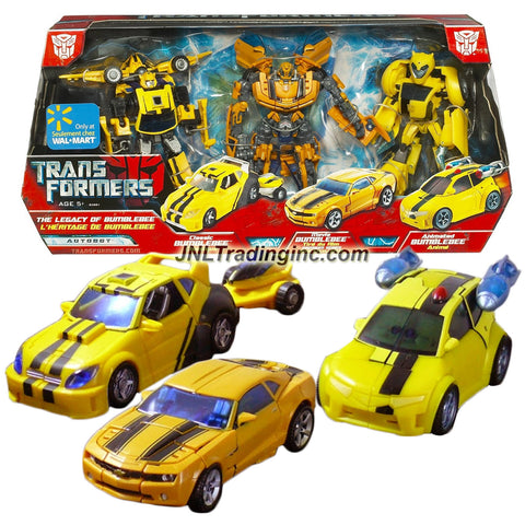 Hasbro Year 2008 Transformers Exclusive Series 3 Pack Set Deluxe Class 6 Inch Tall Robot Action Figure - LEGACY OF THE BUMBLEBEE with Classic Series Bumblebee (Vehicle Mode: Cruiser), Movie Premium Series Bumblebee (Vehicle Mode: Camaro Concept) & Animated Series Bumblebee (Vehicle Mode: Sports Car)
