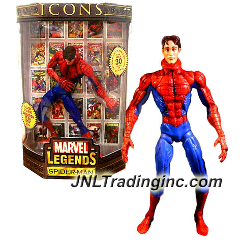 "Toy Biz Year 2006 Marvel Legends ICONS Series 12 Inch Tall Action Figure : Variant Unmasked SPIDER-MAN with 30 Points of Articulation Plus Exclusive ""Evolution of an ICON"" Book"