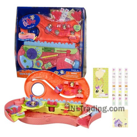 Year 2008 Littlest Pet Shop Store 'N Go Pencil Case with 4 Rolls of Stickers, 6 Paper Clips, Ruler, Note Pad, Character Card and 4 Mini Pets