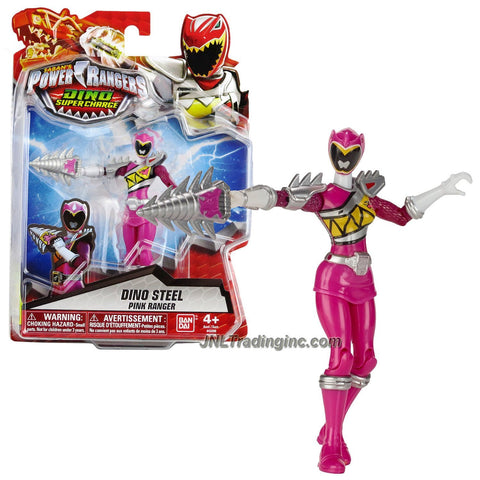 Bandai Year 2015 Saban's Power Rangers Dino Super Charge Series 5 Inch Tall Action Figure - Dino Steel PINK RANGER aka Shelby with Tricera Drill