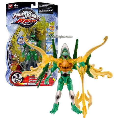 "Bandai Power Rangers RPM Auxiliary Trax 5-1/2"" Tall Figure with 3 Transformation Modes - Shark Guardian with Green Ranger Plus Weapon & Accessories"
