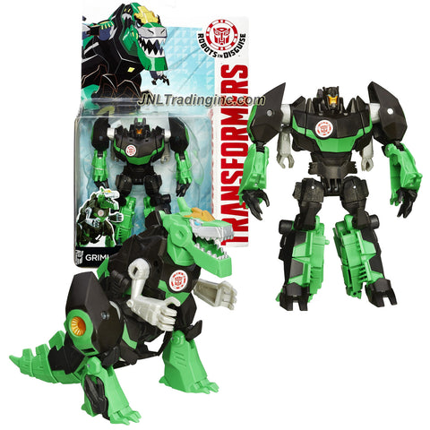 Hasbro Year 2014 Transformers Robots in Disguise Animation Series Deluxe Class 5 Inch Tall Robot Action Figure - Autobot GRIMLOCK (Beast Mode: T-Rex Dinosaur)