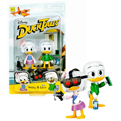 Disney DuckTales Series 2 Pack 3 Inch Tall Figure - WEBBY and LOUIE with Goggles, Grappling Hook, Pop Can and Cellphone
