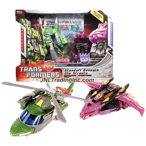 Hasbro Year 2008 Transformers Universe War Within Series Exclusive 2 Pack Robot Action Figure Set - STANDOFF BENEATH THE STREETS with Voyager Class Autobot SPRINGER (Vehicle Mode: Helicopter) and Deluxe Class Decepticon RATBAT (Vehicle Mode: Cybertronian Jet)