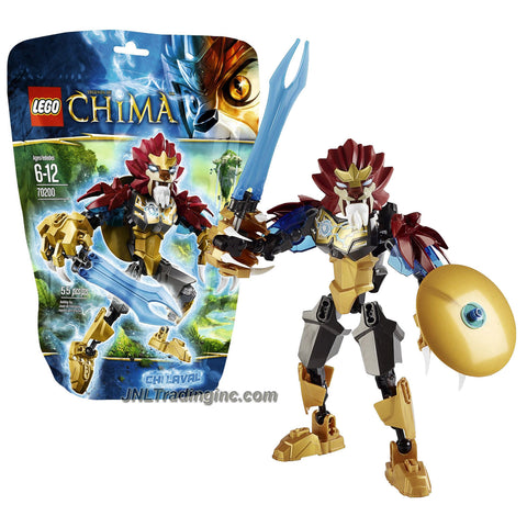 Lego Year 2013 Legends of Chima Series 6 Inch Tall Figure Set #70200 - CHI LAVAL with CHI Double Sword and Shield, Huge Claws, Spiked Shoulder Elements and CHI Orb Chest Armor (Total Pieces: 55)