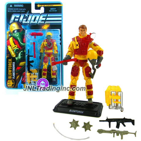 "Hasbro Year 2010 G.I. JOE Mission ""The Pursuit of Cobra Jungle Assault"" Series 4 Inch Tall Action Figure - Flamethrower BLOWTORCH with Flamethrower, Helmet, Oxygen Mask, Fuel Backpack, Flamethrower Hose, Fire Axe, Fire Extinguisher, Flame Mines, Rifle and Display Stand"