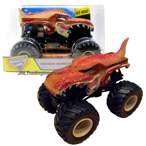 "Hot Wheels Year 2015 Monster Jam 1:24 Scale Die Cast Official Monster Truck Series : MEGA-WREX (CGD63) with Monster Tires, Working Suspension & 4 Wheel Steering (Dimension: 7"" L x 5-1/2"" W x 4-1/2"" H)"