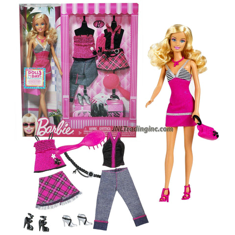 "Mattel Year 2009 Barbie Fashionistas Series 12"" Doll Playset - Barbie (T1880) in Spaghetti Strap Pink Dress with Necklace, Purse and Shoes Plus 2 Additional Set of Outfits Belt, Extra 2 Pairs of Shoes and Hairbrush"