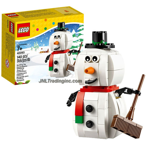 Lego Year 2014 Seasonal Series 4 Inch Tall Figure Set #40093 - Christmas SNOWMAN with Hat, Scarf, Carrot Nose and a Broom (Total Pieces: 140)