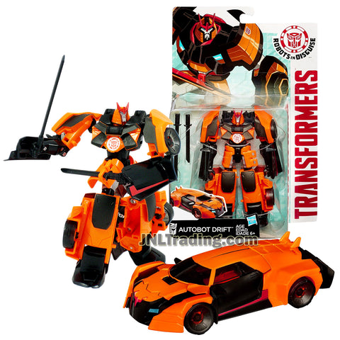 Year 2014 Transformers Robots in Disguise Animation Series Warrior Class 5-1/2 Inch Tall Figure - AUTOBOT DRIFT with 2 Katana Swords (Vehicle Mode: Sports Car)