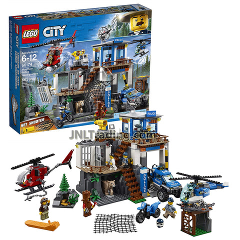Year 2018 Lego City Series Set 60174 - MOUNTAIN POLICE HEADQUARTERS with Police Chief, Pilot, 2 Officers and 3 Crooks Minifigures (Total Pieces: 663)