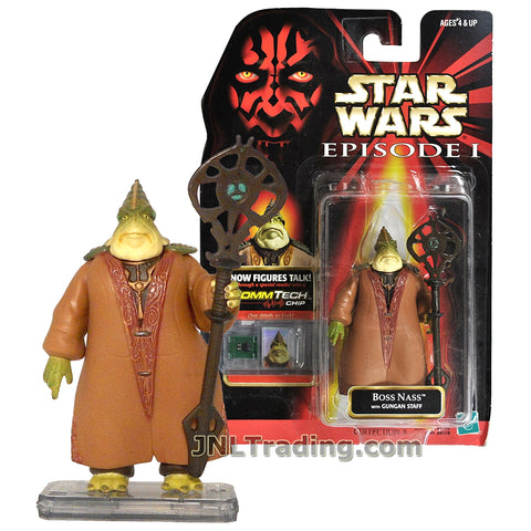 Star Wars Year 1998 The Phantom Menace Series 4 Inch Tall Figure - BOSS NASS with Gungan Staff and CommTech Chip