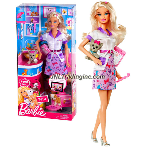 "Mattel Year 2011 Barbie ""I Can Be"" Series 12 Inch Doll Set - Pet Vet BARBIE (W3740) with Uniform, Clipboard, Yorkshire Terrier Puppy and High Heel Shoes"