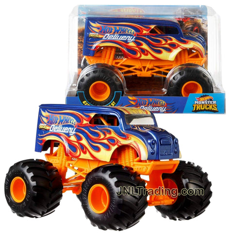 Hot Wheels Year 2018 Monster Jam 1:24 Scale Die Cast Metal Body Official Monster Truck Series : HOTWHEELS DELIVERY FYJ94 with Monster Tires, Working Suspension and 4 Wheel Steering