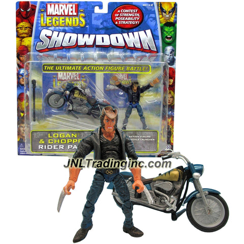ToyBiz Year 2006 Marvel Legends Showdown Battle Rider Pack 4 Inch Tall Action Figure with Vehicle Set - LOGAN & CHOPPER with Power Cards, Battle Tile and Missile
