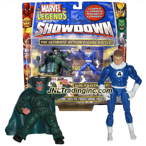 ToyBiz Year 2006 Marvel Legends Showdown Series 2 Pack 4 Inch Tall Action Figure Starter Set - MR. FANTASTIC vs. MOLEMAN with 2 Bases, 6 Power Cards, 12 Battle Tiles, 2 Projectile Launchers with 2 Projectiles, 2 Dices and Rulebook