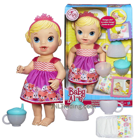 Year 2014 Baby BA Alive Series 12 Inch Doll Set - Teacup Surprise Baby (Caucasian Version) with Tiara, Teapot, Cup. Sippy Cup and Diaper