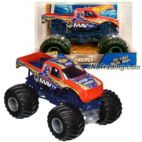 Hot Wheels Year 2016 Monster Jam 1:24 Scale Die Cast Metal Body Official Truck - Lucas Oil MAV TV SHOCKER (DJW91) with Monster Tires, Working Suspension and 4 Wheel Steering