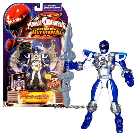 Bandai Year 2007 Power Rangers Operation Overdrive Series 6 Inch Tall Action Figure - MISSION RESPONSE BLUE RANGER with I.D. Tech Chip Inside Plus Double Sword