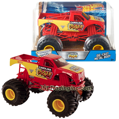 Hot Wheels Year 2016 Monster Jam 1:24 Scale Die Cast Monster Truck - CAROLINA CRUSHER with Monster Tires, Working Suspension and 4 Wheel Steering