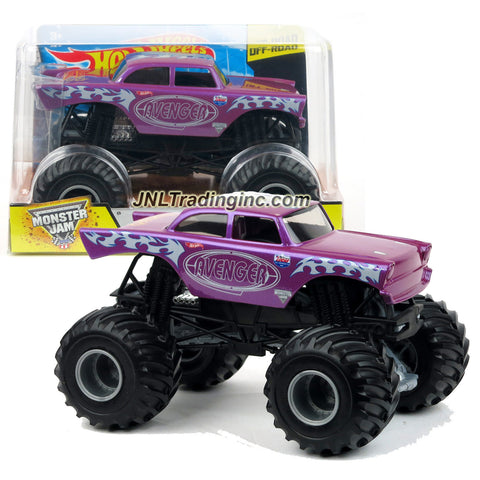 "Hot Wheels Year 2015 Monster Jam 1:24 Scale Die Cast Metal Body Off-Road Series #CGD79 - Garner's Towing Purple AVENGER with Monster Tires & Working Suspension (Dimension : 7""L x 5-1/2""W x 4-1/2""H)"