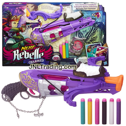 Nerf Rebelle Year 2014 Charmed Series FAIR FORTUNE CROSSBOW with Revolving 6-Dart Drum, Bracelet with 2 Charms and 6 Colorful Darts