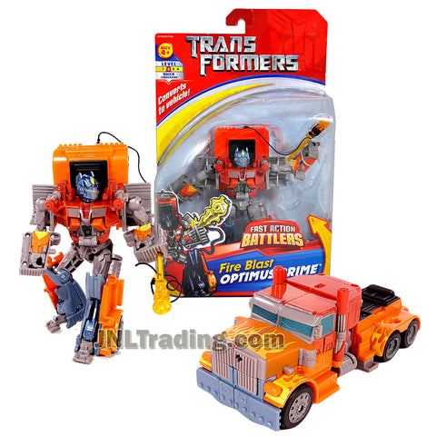 Transformer Year 2007 Fast Action Battlers Series 6 Inch Tall Figure - FIRE BLAST OPTIMUS PRIME with Missile Launcher (Vehicle Mode: Rig Truck)