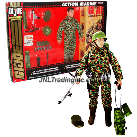Hasbro Year 1994 GI JOE Commemorative Collection (1964-1994) Series 12 Inch Tall Action Figure - Corps Commando ACTION MARINE (Hispanic) with Uniform, Hat, Helmet, Belt with Pouches, 6 Grenades, Knife with Sheath, Radio Pack and Flamethrower Pack Plus Bonus Sticker