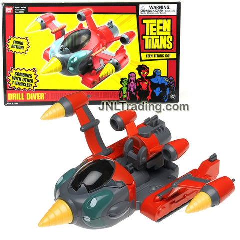 "Bandai Year 2004 Teen Titans Action Vehicle Set - DRILL DIVER with Firing Action Feature (Compatible with Most 4"" Teen Titans Figure, Figure Sold Separately)"