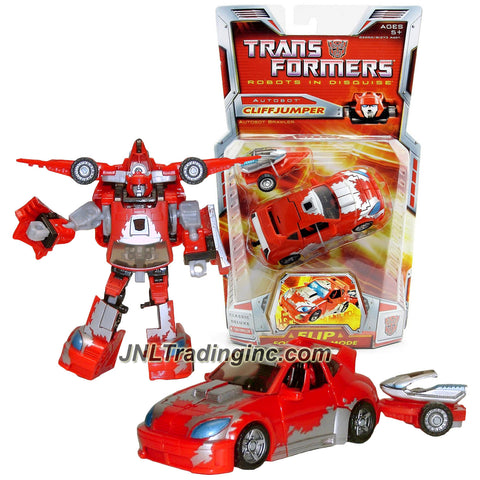 Hasbro Year 2006 Transformers Classic Series 5 Inch Tall Deluxe Class Robot Action Figure - Autobot Brawler CLIFFJUMPER with Wave Crusher and Trailer that Convert to Jet Pack (Vehicle Mode: Cruiser)