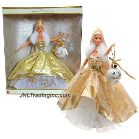Mattel Year 2000 Barbie Holiday Season Series 12 Inch Doll - Special 2000 Edition CELEBRATION BARBIE with Golden/Ivory Dress, Christmas Ornament, Tiara, Necklace, Shoes and Doll Stand